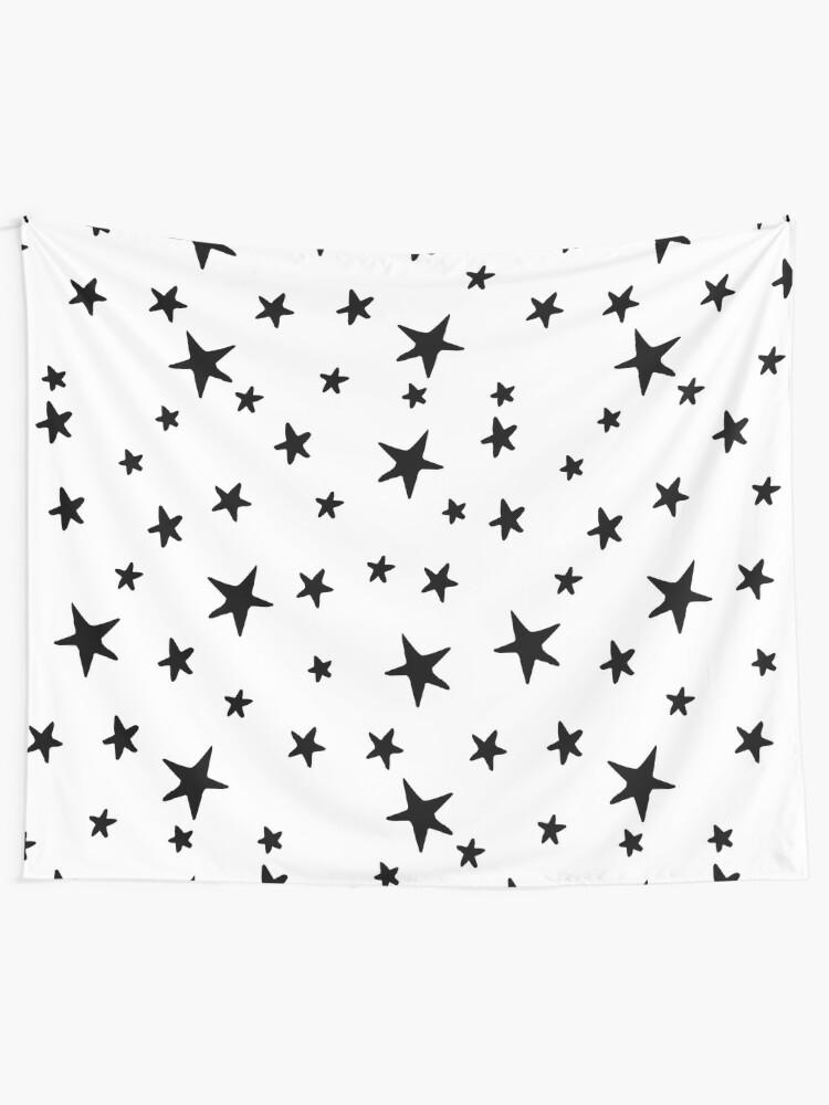 Alternate view of Stars - Black on White Tapestry