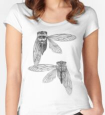 Cicada Study in Black and White Women's Fitted Scoop T-Shirt
