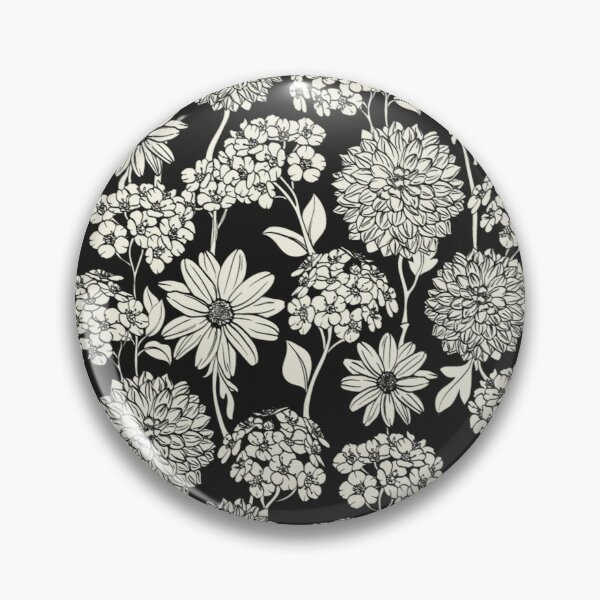 Black and White Neck Gator Black and White Dahlias and Daisies Pattern Pin