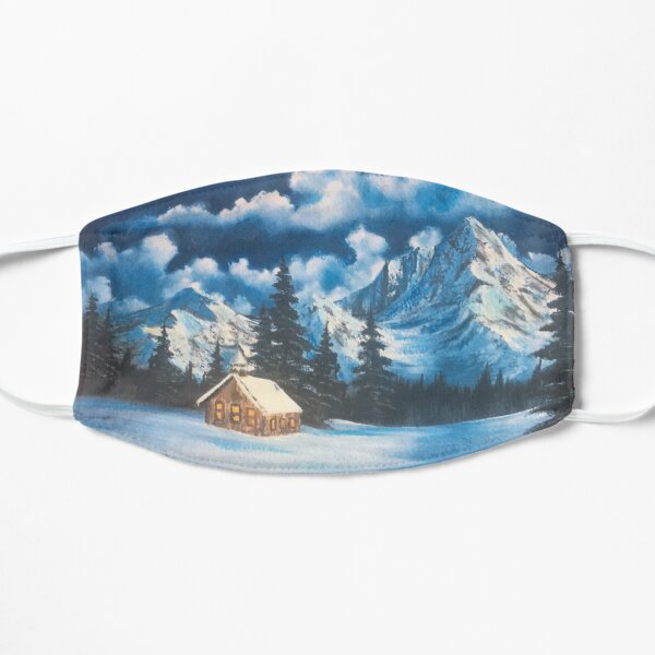 Bob Ross Style Inspired Snowy Mountain Oil Painting Mask
