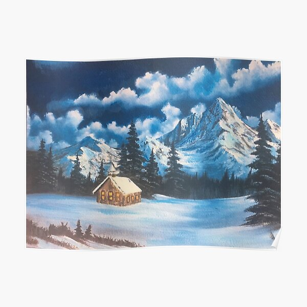 Bob Ross Style Inspired Snowy Mountain Oil Painting Poster