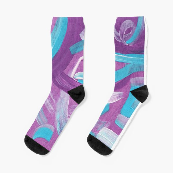 Ultra Violet + Teal Abstract Painting Socks