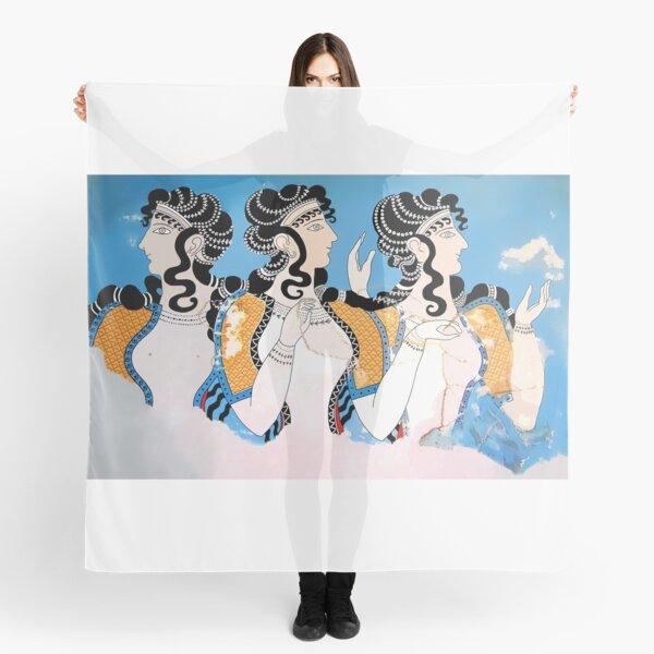 """Minoan """"Ladies in Blue"""" Fresco Art Scarf"""