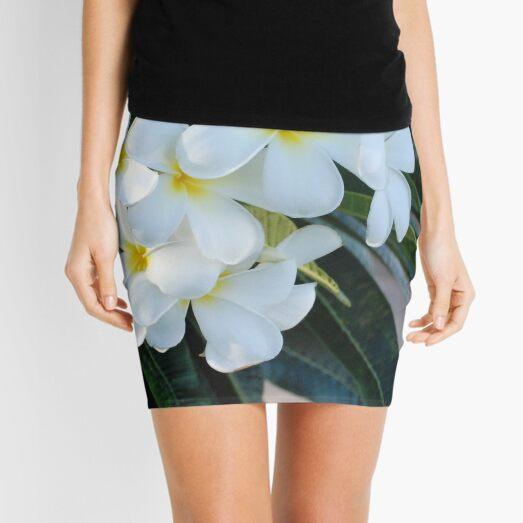 Frangipani or Yellow and White Flower Barbados Spring    Mini Skirt