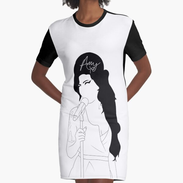 Amy Winehouse Line Drawing with Signiture Graphic T-Shirt Dress