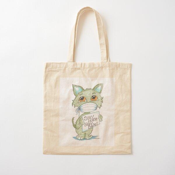 Cute Green Cat in a Mask Cotton Tote Bag