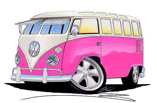 VW Splitty (23 Window) Camper Van Pink by yeomanscarart