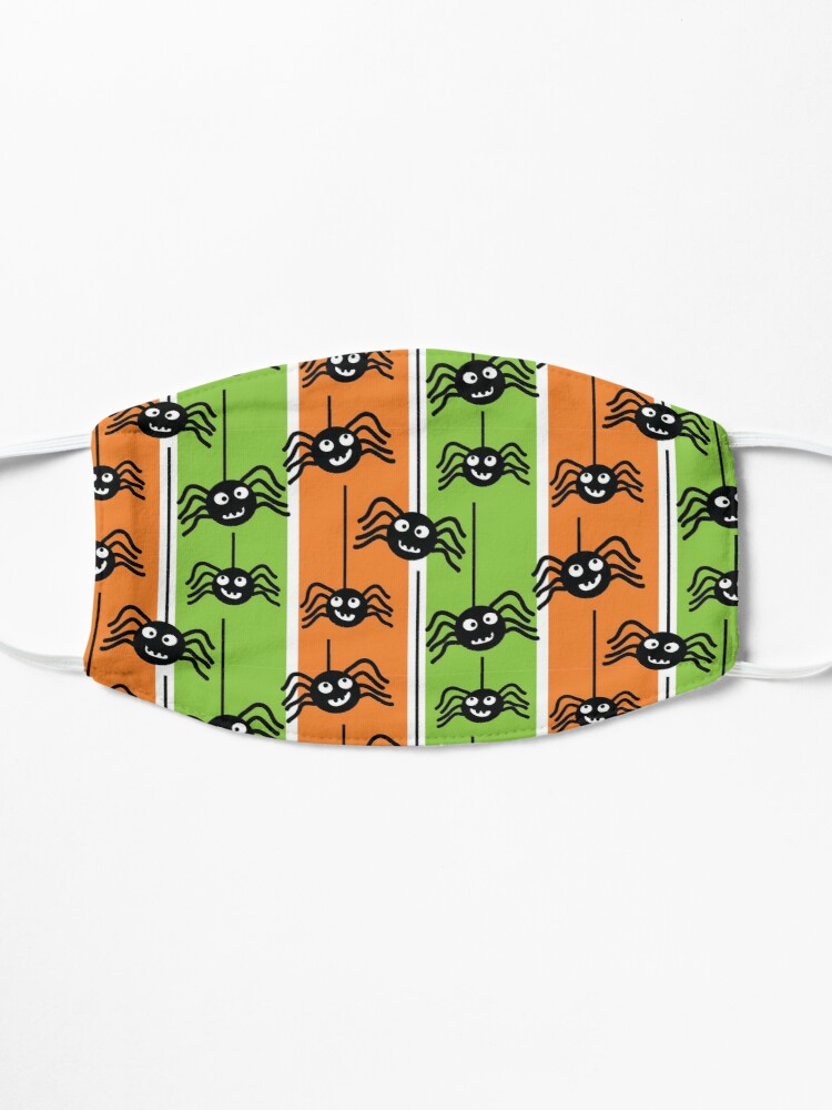 Alternate view of  Halloween Spiders Dangling Orange and Green Mask