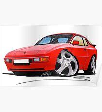 Porsche 944 Red Poster