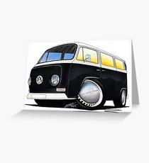 VW Bay Window Camper Van Black Greeting Card