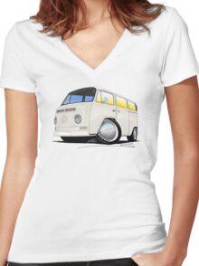 VW Bay Window Camper Van White Women's Fitted V-Neck T-Shirt