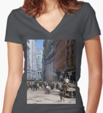 Curb Market in NYC, ca 1900 Women's Fitted V-Neck T-Shirt
