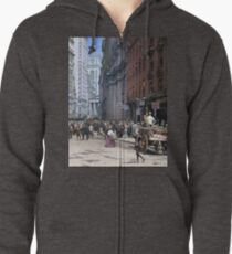 Curb Market in NYC, ca 1900 Zipped Hoodie