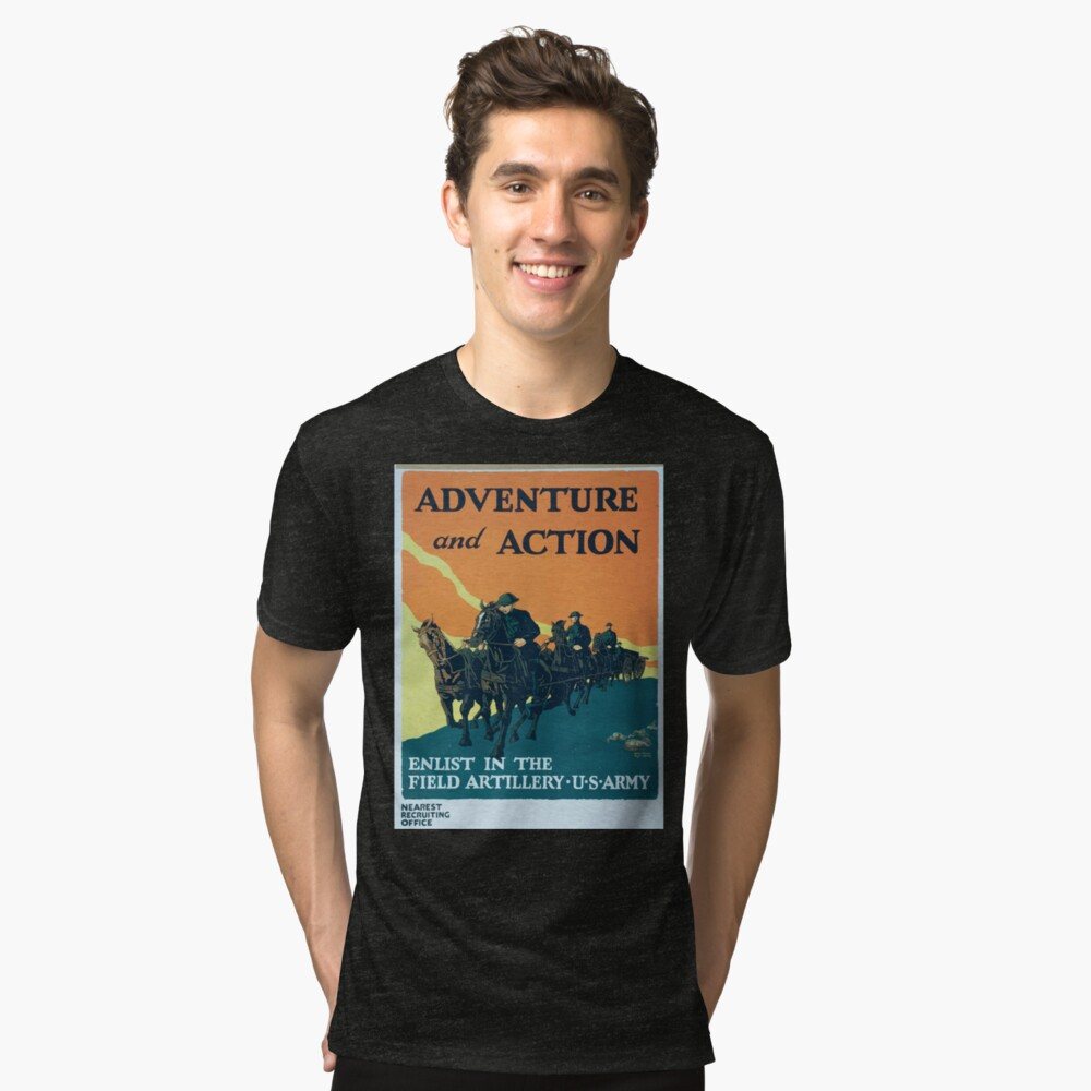 Adventure and action Enlist in the field artillery US Army Vintage T-Shirt