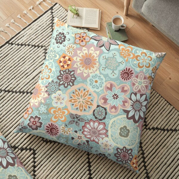 Beautiful Bouquet of Midsummer Blooms in blue, orange and pink Floor Pillow