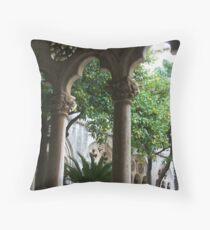 Dubrovnik, Croatia Church Garden Throw Pillow
