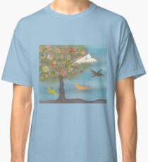 Boy in a Paper Plane flying into the World Map Tree Classic T-Shirt