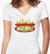 R.I.P. TONY SLY!! Women's Fitted V-Neck T-Shirt