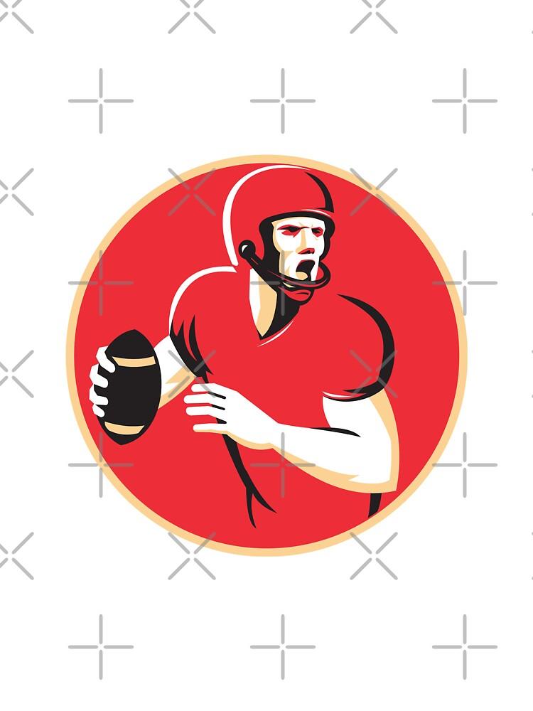 american quarterback football player passing circle by retrovectors