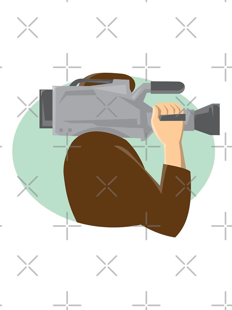 cameraman movie video camera side retro by retrovectors