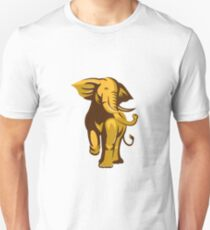 african bull elephant charging retro T-Shirt