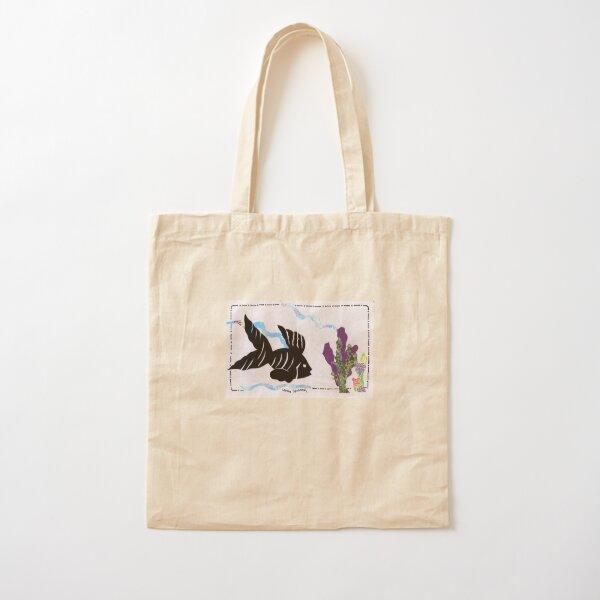 Silhouette Fish Design Cotton Tote Bag