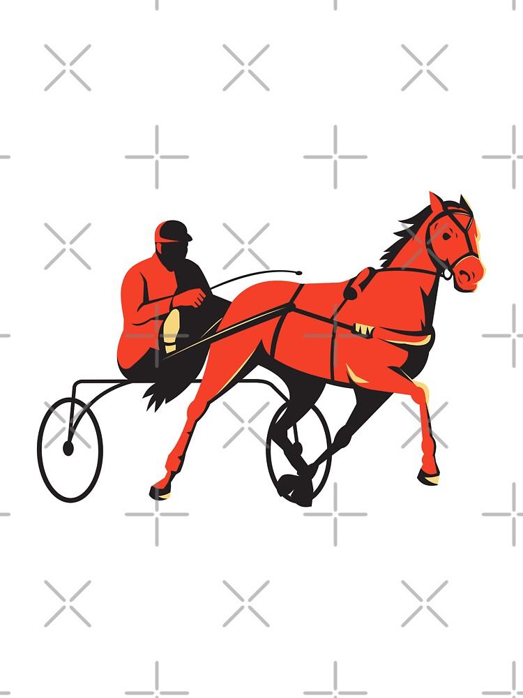 harness horse cart racing retro by retrovectors