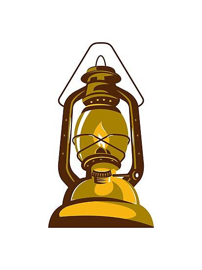 kerosene oil lamp retro by retrovectors