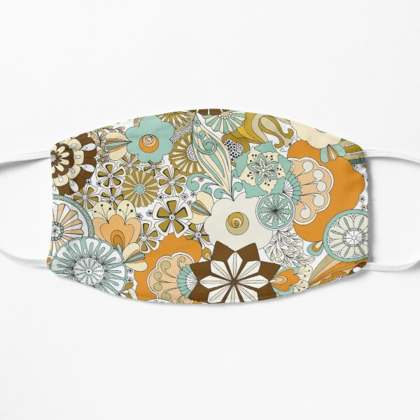 70s Style Flower Power in Teal, Orange and Brown Mask