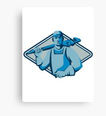 plumber worker monkey wrench retro Canvas Print