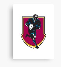 rugby player running passing ball retro Canvas Print