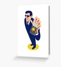 secret agent showing id badge retro Greeting Card