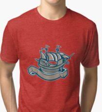 sailing ship galleon scroll Tri-blend T-Shirt