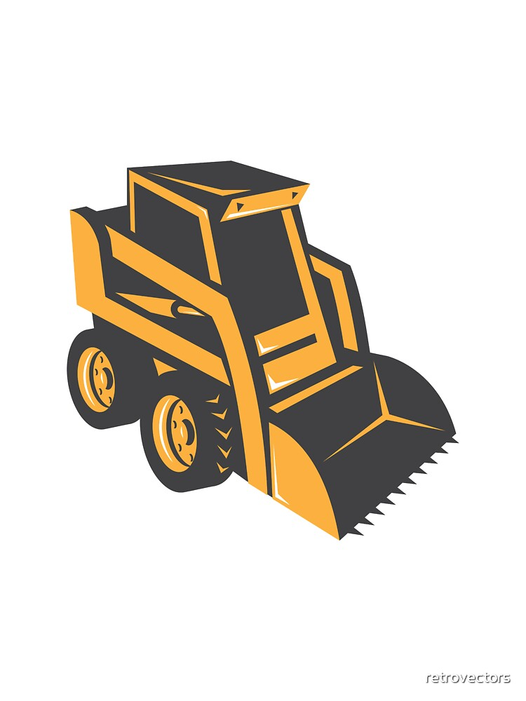 skid steer digger truck by retrovectors