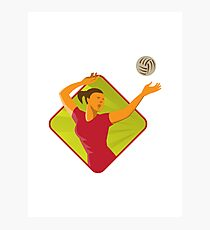 Volleyball Player Spike Ball Retro Photographic Print