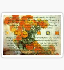 October's Child Birthday Greeting with Marigolds Sticker