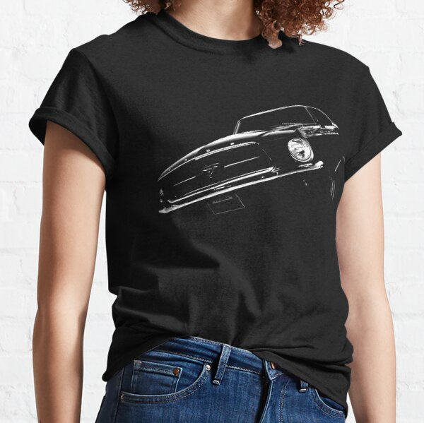 Ladies Licensed Ford Mustang T-Shirt Classic American Retro V8 Muscle Car Stripe