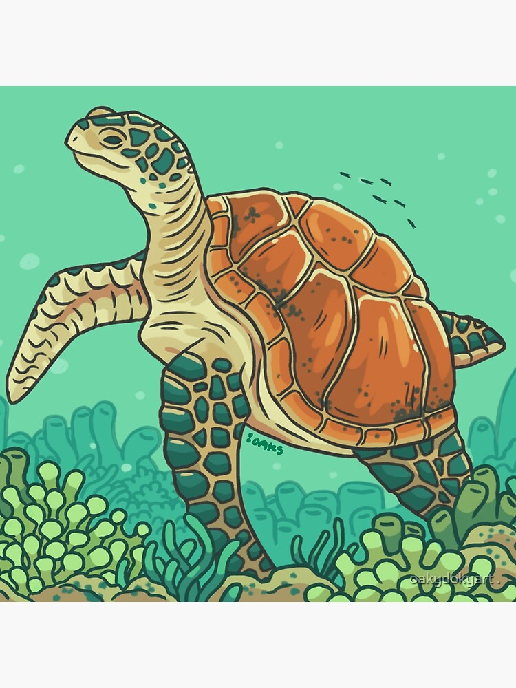 Green Coral Sea Turtle by Miki8335