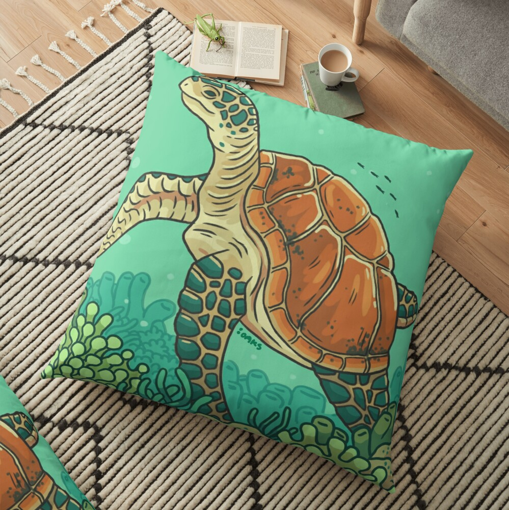 Green Coral Sea Turtle Floor Pillow