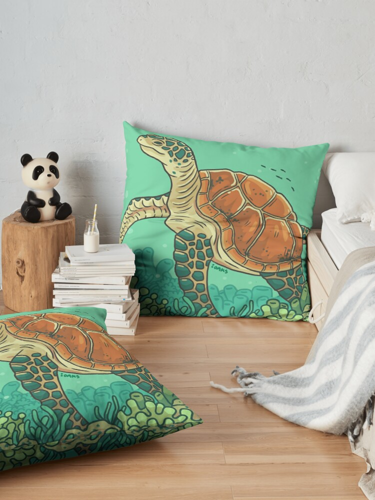 Alternate view of Green Coral Sea Turtle Floor Pillow
