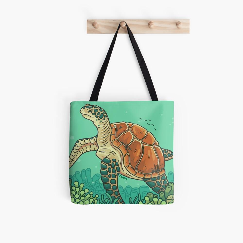 Green Coral Sea Turtle Tote Bag