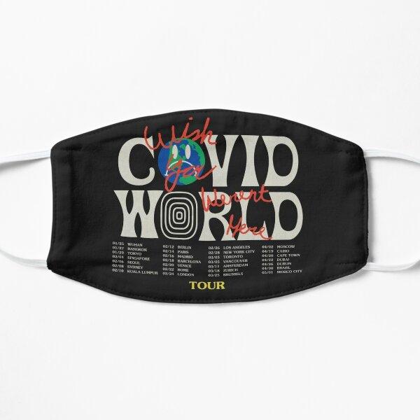 Travis Scott Astroworld Parodia Covid World Tour Graphic Design Ojalá estuvieras aquí World Tour Cities Mascarilla plana