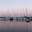 Marina in Pink - Peaceful Boat Reflections by Georgia Mizuleva