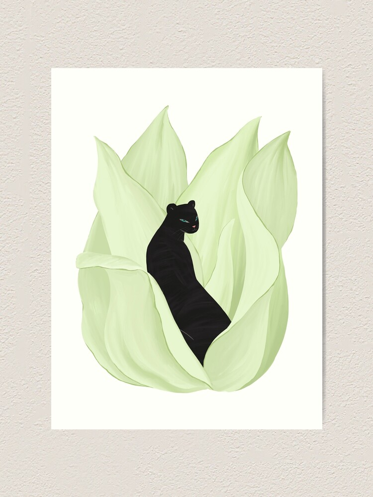 Alternate view of Black Panther in Sansevieria Art Print