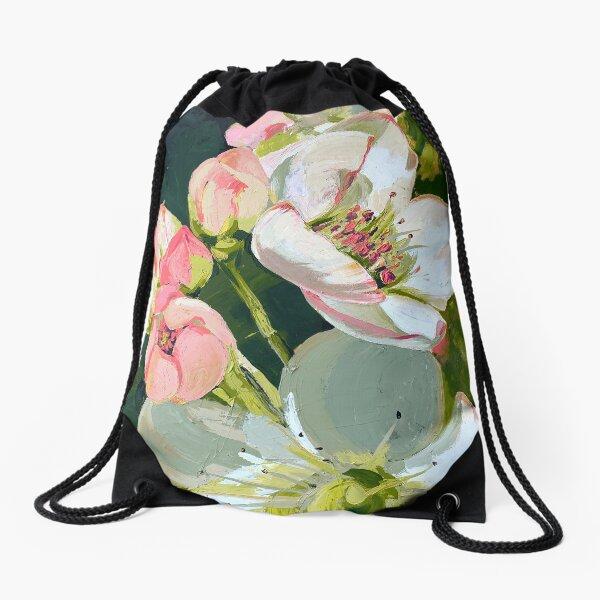 Golden Pear Blossom Acrylic Painting Drawstring Bag