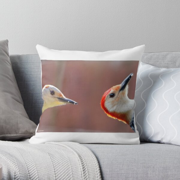 Femal and Male Red-Bellied Woodpeckers Throw Pillow