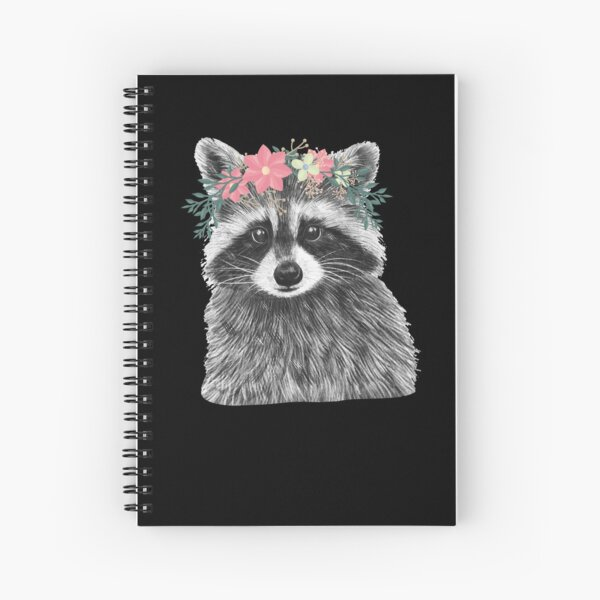 Raccoon Floral Crown Flowers Funny Cute Animal Raccoon Gift Spiral Notebook