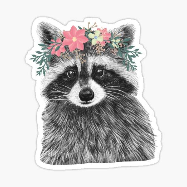 Raccoon Floral Crown Flowers Funny Cute Animal Raccoon Gift Sticker