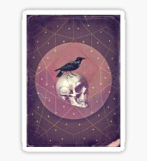 Crow and Skull Collage Sticker