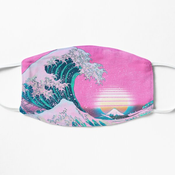 Vaporwave Aesthetic Great Wave Off Kanagawa Retro Sunset Flat Mask